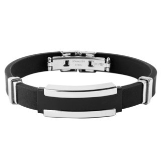 Men's Stainless Steel Black Rubber ID Bracelet