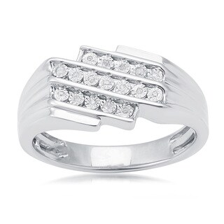 Sterling Silver 0.06ct TDW White Diamond Three Row Men's Ring (H-I, I2-I3))