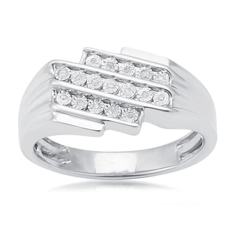 Sterling Silver 0.06ct TDW White Diamond Three Row Men's Ring (H-I, I2-I3))