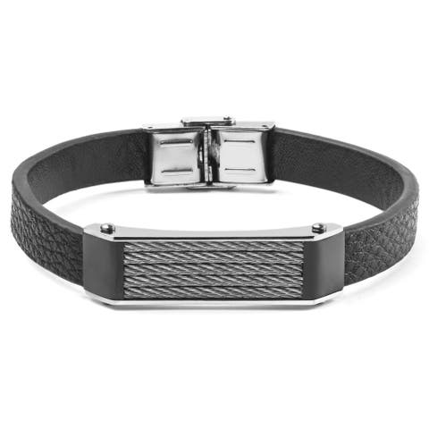 Men's Black Faux Leather and Stainless Steel Cable Inlayed ID Plate Bracelet