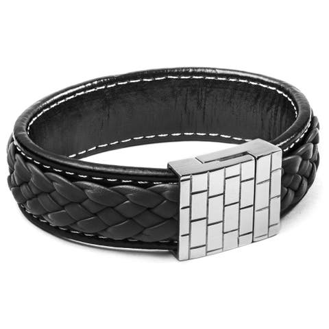 Crucible Stainless Steel and Charcoal Braided Leather Bracelet - Black