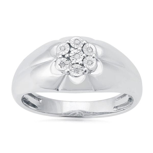 Sterling Silver White Diamond Accents Men's Ring (H-I, I2-I3)