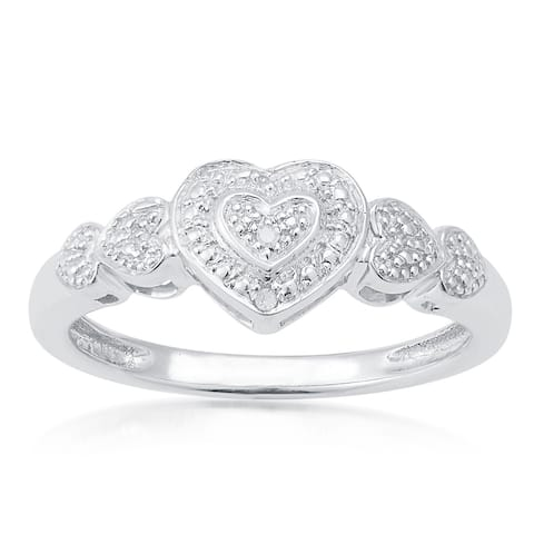 Sterling Silver Diamond Accents Heart Ring