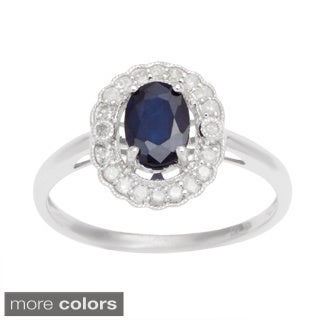 Viducci 10k Gold Gemstone and 1/4ct TDW Diamond Halo Ring (G-H, I1-I2)