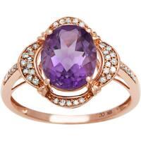 Viducci 10k Gold Amethyst and 1/3ct TDW Diamond Halo Ring (G-H, I1-I2)