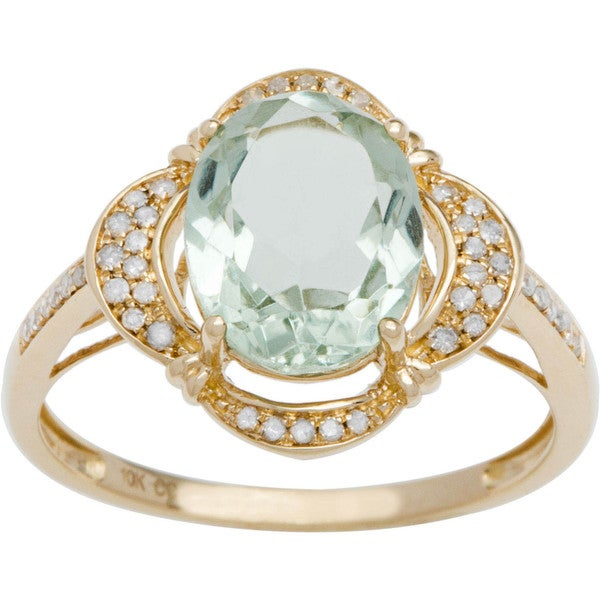 Viducci 10k Gold Green Amethyst and 1/3ct TDW Diamond Halo Ring (G-H, I1-I2)