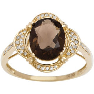 Viducci 10k Gold Smoky Quartz and 1/3ct TDW Diamond Halo Ring (G-H, I1-I2)