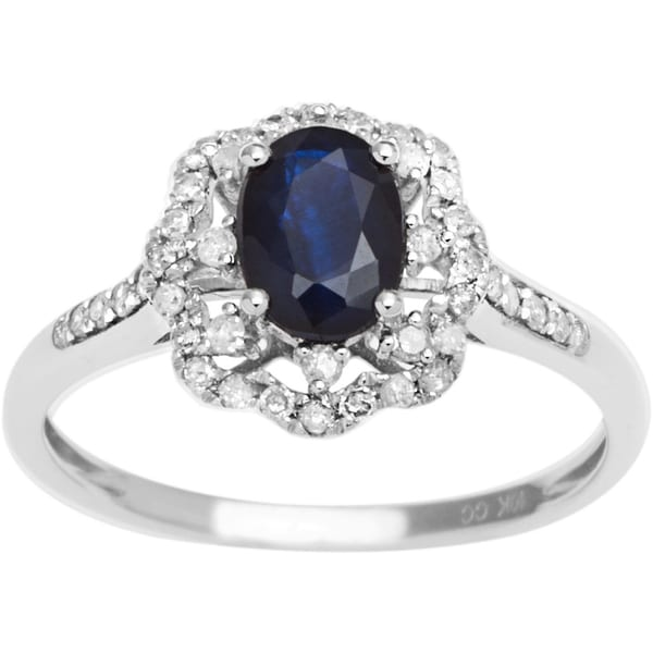 Viducci 10k Gold Sapphire, Ruby or Emerald and 2/5ct TDW Diamond Halo Ring (G-H, I1-I2)
