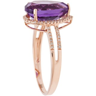 Viducci 10k Gold Amethyst and 1/3ct TDW Diamond Halo Ring (G-H, I1-I2)