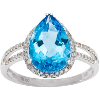 Viducci 10k Gold Blue Topaz and 1/3ct TDW Diamond Halo Ring (G-H, I1-I2)