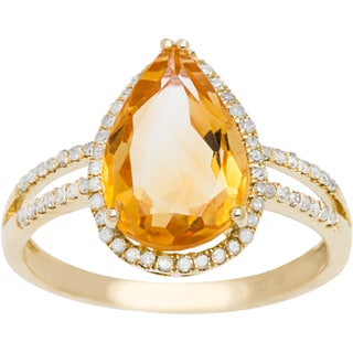 Viducci 10k Gold Citrine and 1/3ct TDW Diamond Halo Ring (G-H, I1-I2)