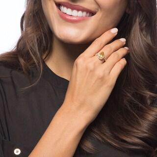 Viducci 10k Gold Citrine and 1/3ct TDW Diamond Halo Ring (G-H, I1-I2)