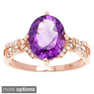 Viducci 10k Gold Amethyst and 1/5ct TDW Diamond Ring (G-H, I1-I2)