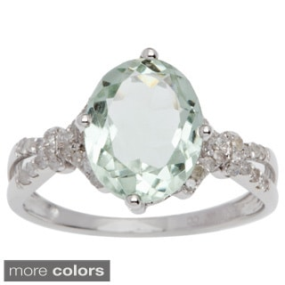 Viducci 10k Gold Green Amethyst and 1/5ct TDW Diamond Ring (G-H, I1-I2)