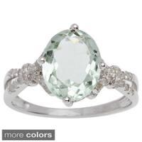 Viducci 10k Gold Green Amethyst and 1/5ct TDW Diamond Ring (G-H, I1-I2)