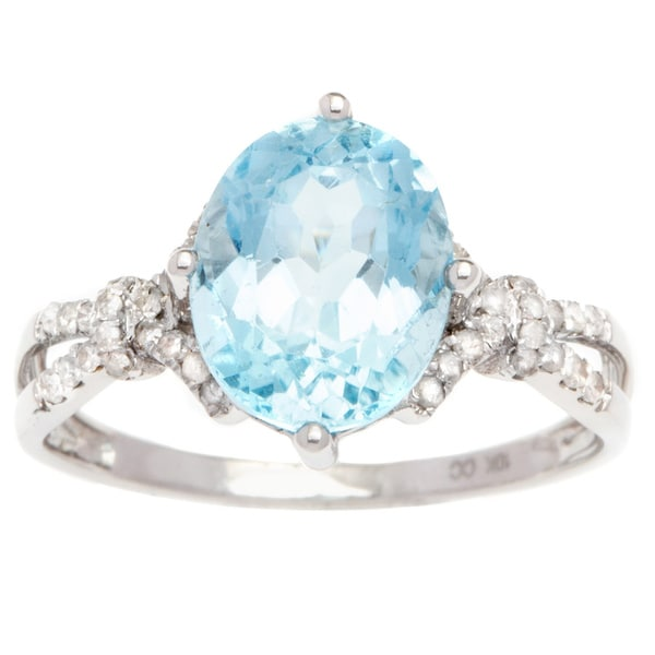 Viducci 10k Gold Blue Topaz and 1/5ct TDW Diamond Ring (G-H, I1-I2)