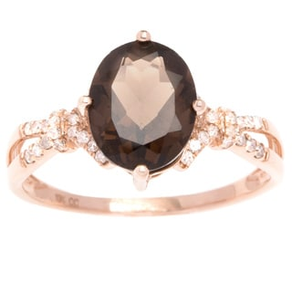 Viducci 10k Gold Smoky Quartz and 1/5ct TDW Diamond Ring (G-H, I1-I2)