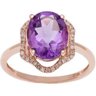Viducci 10k Gold Amethyst and 1/5ct TDW Diamond Ring (G-H, I1-I2)