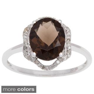 Viducci 10k Gold Smoky Quartz and 1/5ct TDW Diamond Ring (G-H, I1-I2)