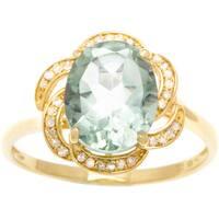 Viducci 10k Gold Green Amethyst and 1/6ct TDW Diamond Ring (G-H, I1-I2)