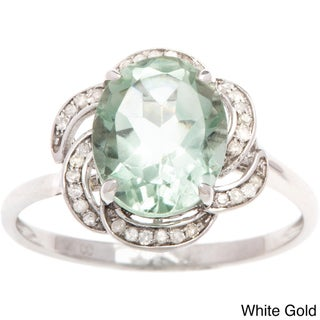 Viducci 10k Gold Green Amethyst and 1/6ct TDW Diamond Ring (G-H, I1-I2)