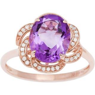 Viducci 10k Gold Amethyst and 1/6ct TDW Diamond Ring (G-H, I1-I2)