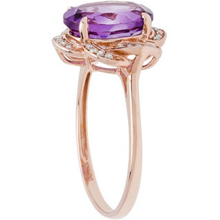Viducci 10k Gold Amethyst and 1/6ct TDW Diamond Ring (G-H, I1-I2)