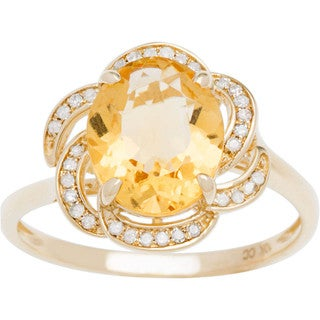 Viducci 10k Gold Citrine and 1/6ct TDW Diamond Ring (G-H, I1-I2)