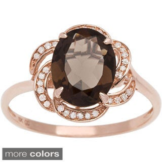 Viducci 10k Gold Smoky Quartz and 1/6ct TDW Diamond Ring (G-H, I1-I2)
