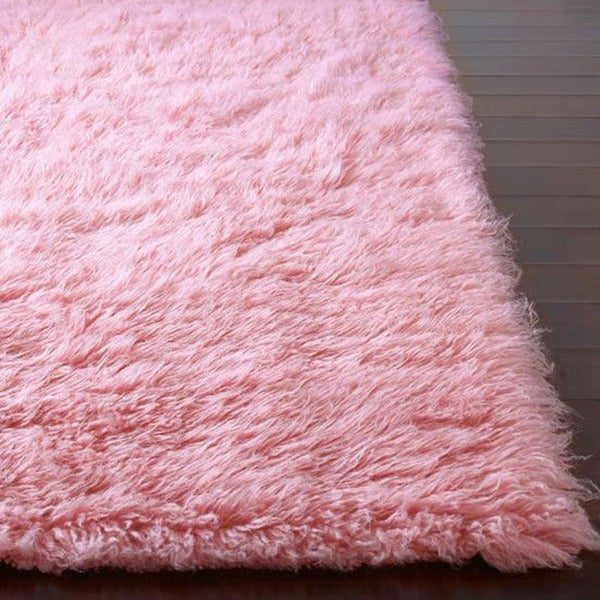 nuLOOM Hand-woven Flokati Wool Shag Rug (3' x 5') in Pink Only (As Is Item)