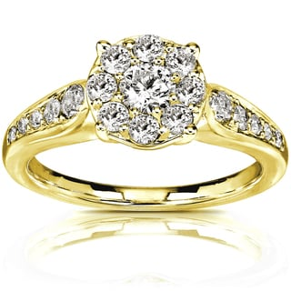 Annello by Kobelli 14k Yellow Gold 3/4ct TDW Round Diamond Cluster Engagement Ring