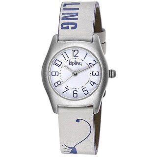 Kipling Purple Monkey Girls' Leather Strap Quartz Watch