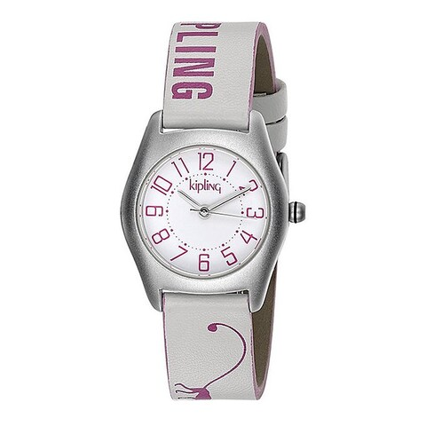 Kipling Pink Monkey Girls' Leather Strap Quartz Watch