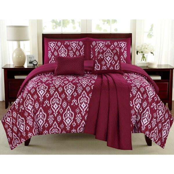 Mayan Raspberry 6-piece Comforter Set