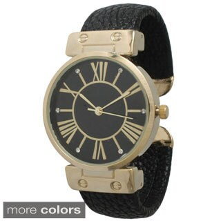 Olivia Pratt Women's Elegant Leather Cuff Watch