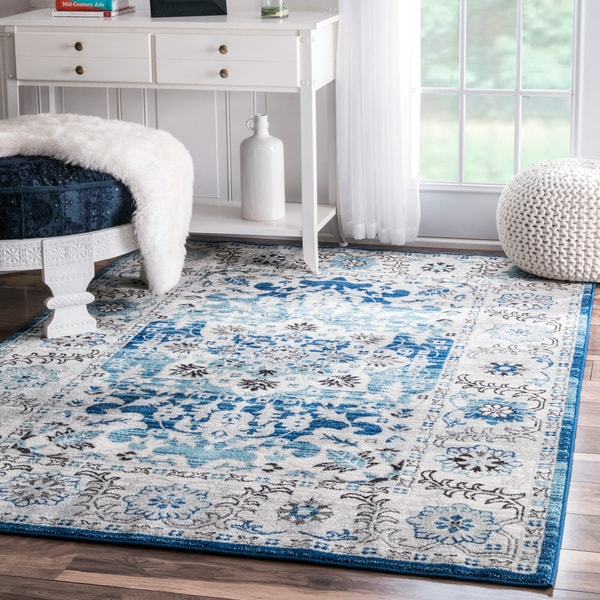 NuLOOM Traditional Persian Fancy Aqua Area Rug (8u0027 X 10u0027)