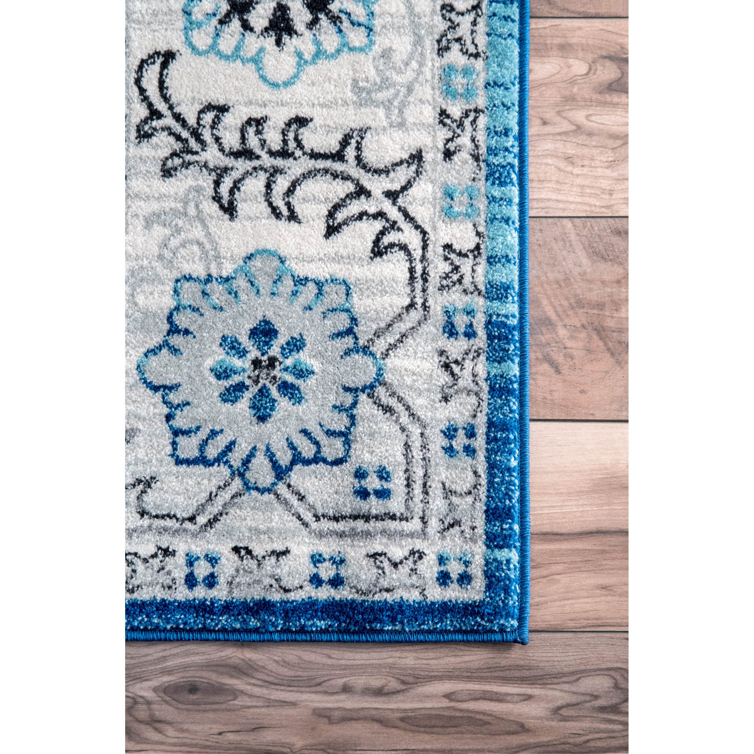 Shop Nuloom Traditional Persian Fancy Aqua Rug: 7x9 - 10x14 Rugs For Less