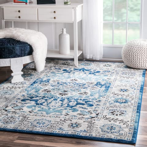 nuLOOM Aqua Traditional Persian Fancy Area Rug