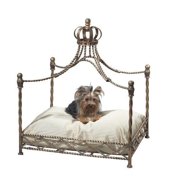 Antique Goldtone Iron Crown Pet Bed. Opens flyout.