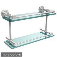Allied Brass Dottingham 16-inch Double Glass Shelf with Gallery Rail