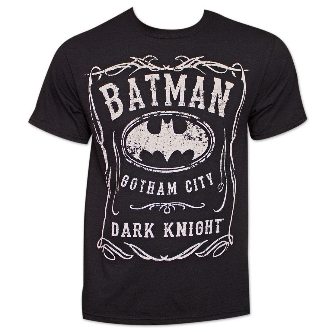 Batman Whiskey-Style Logo TShirt - Black (XXL), Men's (co...