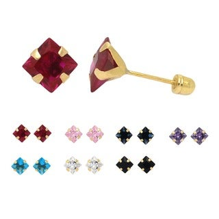 De Buman 14K Yellow Gold Square Multi Colored Crystal Screw back Earrings (7 mm)