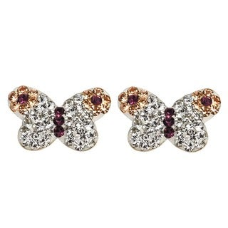 De Buman 14K Gold Multi Colored Crystal & White Cubic Zirconia Butterfly Screw back Earrings