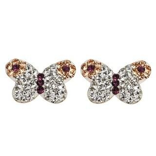 De Buman 14K Gold Multi Colored Crystal & White Cubic Zirconia Butterfly Screw back Earrings