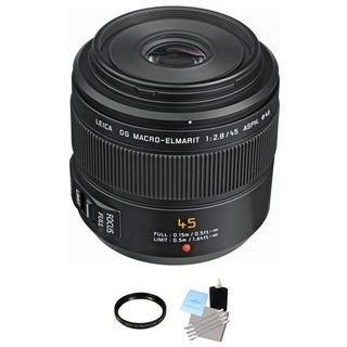 Panasonic 45mm f/2.8 ASPH. MEGA O.I.S. Lens + UV Filter & Cleaning Bundle