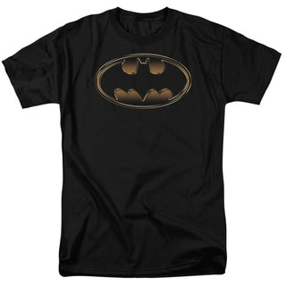 Men's Cotton Batman Classic Golden Embossed Logo Shirt