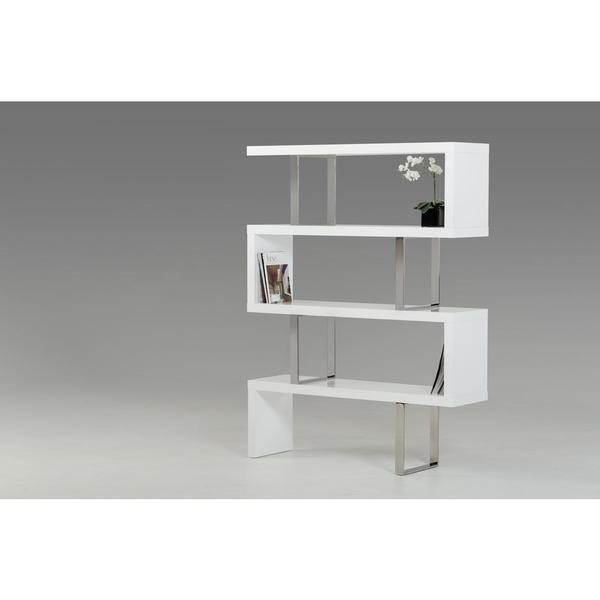 Modrest Maze Modern White High Gloss Bookcase Free Shipping