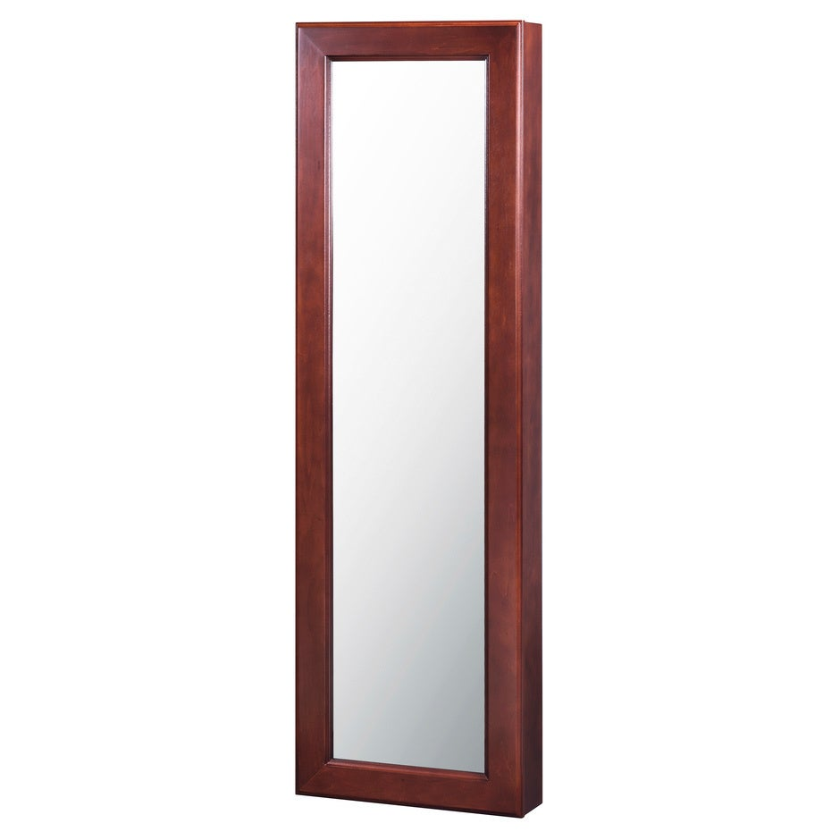 Alps Wall Mounted Jewelry Armoire with Mirror in Walnut (...