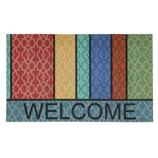 Mohawk Home Doorscapes Multi Lattice Stripe Welcome (1'6 x 2'6)