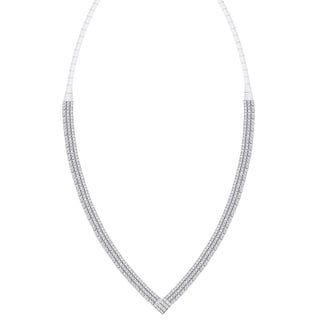 Samantha Stone Sterling Silver Cubic Zirconia 'V' Necklace